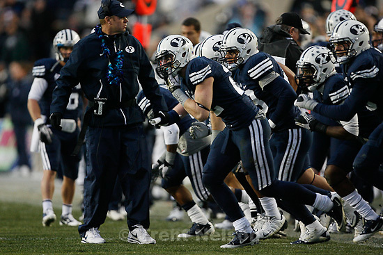 Trent Nelson  |  The Salt Lake Tribune.BYU coach Bronco Mendenhall sends the defense onto the field during the first half,  BYU vs. New Mexico, Saturday, November 20, 2010.