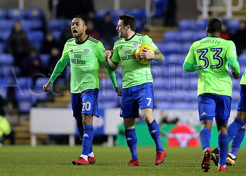 11th December 2017, Madejski Stadium, Reading, England; EFL Championship football, Reading versus Cardiff City; Lee Tomlin of Cardiff City celebrates levelling the score at 2-2 in the 91st minute with Loic Damour of Cardiff City