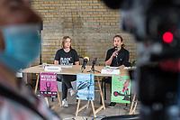 """Auf einer Pressekonferenz erklaerte die Umweltschutzorganisation Extinction Rebellion (XR) am Freitag den 12. Juni 2020 in Berlin ihre Ziele ihrer sog. """"Rebellionswelle"""" der Presse.<br /> Ab Montag den 15. Juni sollen zahlreiche Aktionen in ueber 40 deutschen Staedten stattfinden. Die Aktionen laufen unter dem Motto """"#WeiterSoWarGestern"""" und sollen sich an Konzerne, Regierungen und Lobbyverbaende richten. Aktionen des zivilen Ungehorsams sollen in allen Bundeslaendern stattfinden.<br /> Im Bild vlnr.: Die XR-Aktivisten Annemarie Botzki und Tino Pfaff.<br /> 12.6.2020, Berlin<br /> Copyright: Christian-Ditsch.de<br /> [NUR FUER REDAKTIONELLE ZWECKE! Werbung nur auf Anfrage beim Fotografen. Inhaltsveraendernde Manipulation des Fotos nur nach ausdruecklicher Genehmigung des Fotografen. Vereinbarungen ueber Abtretung von Persoenlichkeitsrechten/Model Release der abgebildeten Person/Personen liegen nicht vor. NO MODEL RELEASE! Don't publish without copyright Christian-Ditsch.de, Veroeffentlichung nur mit Fotografennennung, sowie gegen Honorar, MwSt. und Beleg. Konto: I N G - D i B a, IBAN DE58500105175400192269, BIC INGDDEFFXXX, Kontakt: post@christian-ditsch.de<br /> Bei der Bearbeitung der Dateiinformationen darf die Urheberkennzeichnung in den EXIF- und  IPTC-Daten nicht entfernt werden, diese sind in digitalen Medien nach §95c UrhG rechtlich geschuetzt. Der Urhebervermerk wird gemaess §13 UrhG verlangt.]"""