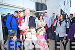 Martin Ferris holding his granddaughter Liadain as he arrives at the North Kerry, West Limerick Election 2011 count at the Brandon Hotel Tralee on Saturday.