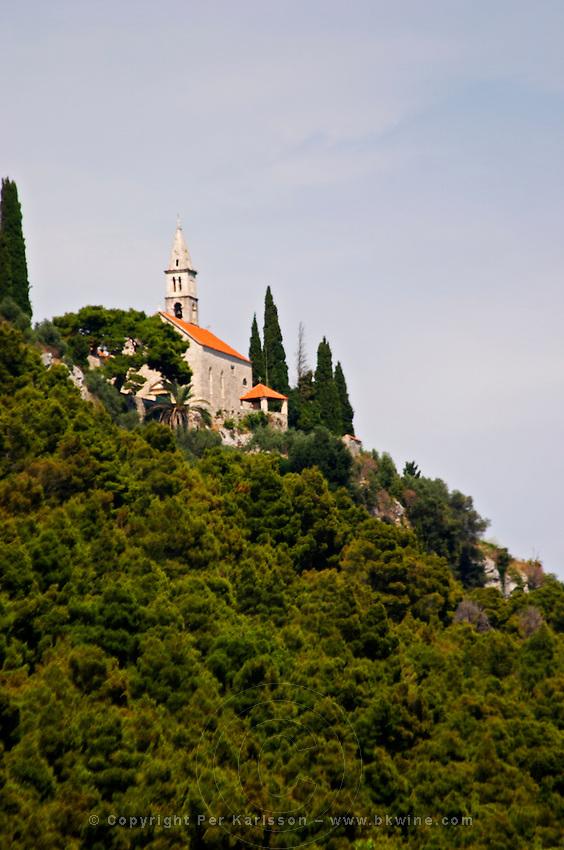 A hilltop chapel near Orebic town. Peljesac peninsula. Dalmatian Coast, Croatia, Europe.