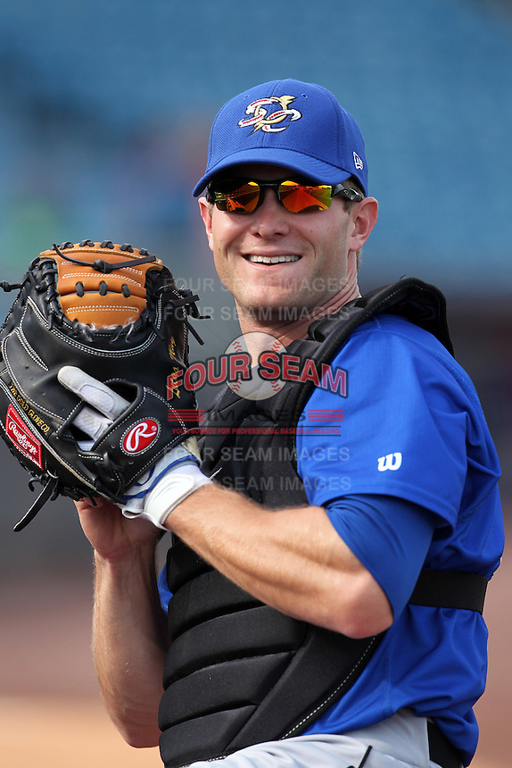 Omaha Storm Chasers catcher Lucas May #24 during batting practice before a game against the Nashville Sounds at Greer Stadium on April 25, 2011 in Nashville, Tennessee.  Omaha defeated Nashville 2-1.  Photo By Mike Janes/Four Seam Images