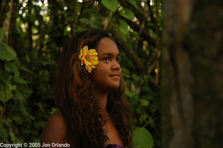 Native Hawaiin girl on the island of Kauai.  Photographed on location for Idanha films.