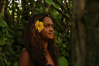 Native Hawaiin girl on the island of Kauai.  Photographed on location for Idanha films.