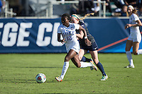 Cary, North Carolina - Sunday December 6, 2015: Toni Payne (10) of the Duke Blue Devils pushes the ball up the field during second half action against the Penn State Nittany Lions at the 2015 NCAA Women's College Cup at WakeMed Soccer Park.  The Nittany Lions defeated the Blue Devils 1-0.