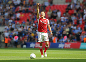 27th May 2018, Wembley Stadium, London, England;  EFL League 1 football, playoff final, Rotherham United versus Shrewsbury Town; Will Vaulks of Rotherham United giving a thumbs up to his family in the stands from the pitch