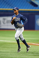 Tampa Bay Rays Garrett Whitley (24) during an instructional league game against the Boston Red Sox on September 24, 2015 at Tropicana Field in St Petersburg, Florida.  (Mike Janes/Four Seam Images)