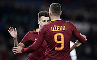 Calcio, ottavi di finale di Tim Cup: Roma vs Sampdoria. Roma, stadio Olimpico, 19 gennaio 2017.<br /> Roma&rsquo;s Edin Dzeko, right, celebrates with teammate Stephan El Shaarawy after scoring during the Italian Cup round of 16 football match between Roma and Sampdoria at Rome's Olympic stadium, 19 January 2017.<br /> UPDATE IMAGES PRESS/Isabella Bonotto