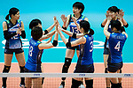Players of Japan celebrate during the FIVB Volleyball World Grand Prix - Hong Kong 2017 match between Japan and Russia on 23 July 2017, in Hong Kong, China. Photo by Yu Chun Christopher Wong / Power Sport Images