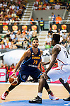 Spain's basketball player Ricky Rubio and Angola's basketball player Bruno Fernando during the first match of the preparation for the Rio Olympic Game at Coliseum Burgos. July 12, 2016. (ALTERPHOTOS/BorjaB.Hojas)