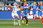 CHESTER, PA - MARCH 01: Grace Geyoro (FRA) (20) pulls the jersey of Jill Scott (ENG) (18). The England Women's National Team played the France Women's National Team as part of the She Believes Cup on March, 1, 2017, at Talen Engery Stadium in Chester, PA. The France won the game 2-1.