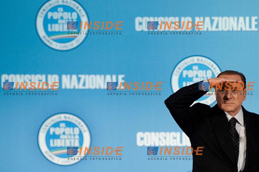 CONSIGLIO NAZIONALE DEL POPOLO DELLA LIBERTA ED ELEZIONE DEL NUOVO SEGRETARIO DEL PARTITO ANGELINO ALFANO...NELLA FOTO SILVIO BERLUSCONI ..ROMA 1 LUGLIO  2011..PHOTO SERENA CREMASCHI INSIDEFOTO..............................