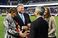 Panasonic NA CEO Joe Taylor, Alex Morgan, United States Soccer President Sunil Gulati. The men's national team of the United States (USA) was defeated by Ecuador (ECU) 1-0 during an international friendly at Red Bull Arena in Harrison, NJ, on October 11, 2011.