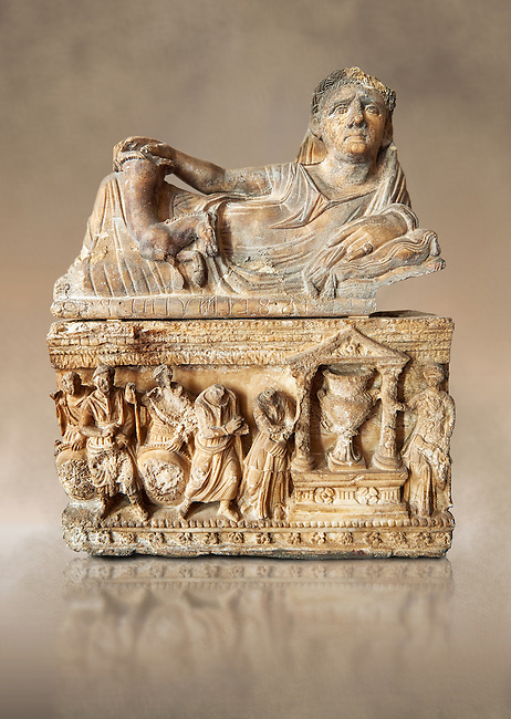 Etruscan Hellenistic style cinerary, funreary, urn , inv no 5774,  National Archaeological Museum Florence, Italy