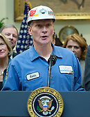 """A coal miner identified as Kevin makes remarks prior to United States President Donald J. Trump signing H.J. Res. 38, disapproving the rule submitted by the US Department of the Interior known as the Stream Protection Rule in the Roosevelt Room of the White House in Washington, DC on Thursday, February 16, 2017.  The Department of Interior's Stream Protection Rule, which was signed during the final month of the Obama administration, """"addresses the impacts of surface coal mining operations on surface water, groundwater, and the productivity of mining operation sites,"""" according to the Congress.gov summary of the resolution.<br /> Credit: Ron Sachs / Pool via CNP"""