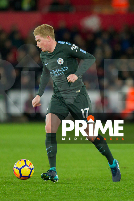 Kevin De Bruyne of Manchester City during the EPL - Premier League match between Swansea City and Manchester City at the Liberty Stadium, Swansea, Wales on 13 December 2017. Photo by Mark  Hawkins / PRiME Media Images.
