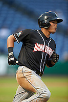Jupiter Hammerheads catcher Rodrigo Vigil (7) runs to first during the first game of a doubleheader against the Clearwater Threshers on July 25, 2015 at Bright House Field in Clearwater, Florida.  Jupiter defeated Clearwater 8-5.  (Mike Janes/Four Seam Images)