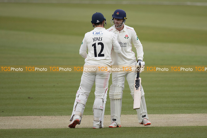Dane Vilas of Lancashire CCC congratulates Rob Jones of Lancashire CCC on his half century during Middlesex CCC vs Lancashire CCC, Specsavers County Championship Division 2 Cricket at Lord's Cricket Ground on 12th April 2019