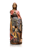 Gothic terracotta statue of the Archangel Gabriel attributed to Lorenzo Mercadante de Bretanya of Seville, circa 1460, from the convent of Santa Clara de Fregenal de la Sierra, Badajoz..  National Museum of Catalan Art, Barcelona, Spain, inv no: MNAC  4367. Against a white background.