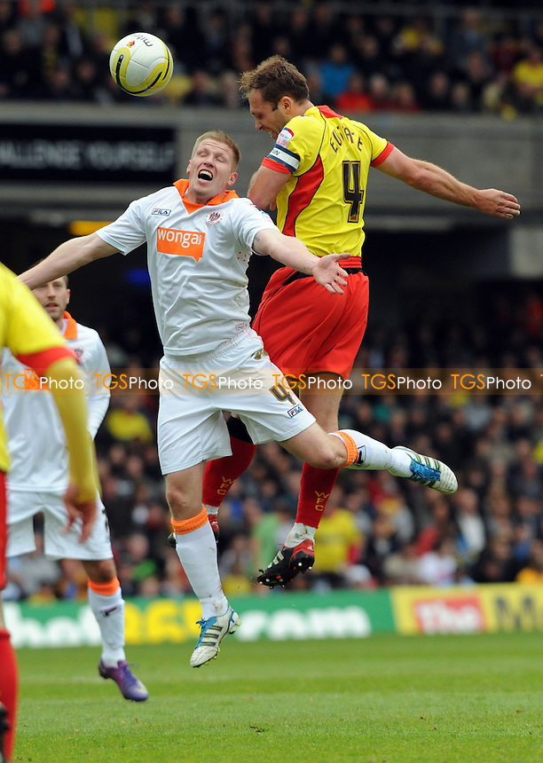 Keith Southern of Blackpool and John Eustace of Watford  - Watford vs Blackpool - nPower Championship Football at Vicarage Road, Watford - 06/04/12 - MANDATORY CREDIT: Anne-Marie Sanderson/TGSPHOTO - Self billing applies where appropriate - 0845 094 6026 - contact@tgsphoto.co.uk - NO UNPAID USE.
