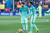 Leo Messi and Neymar Santos Jr during the match of Spanish La Liga between Atletico de Madrid and Futbol Club Barcelona at Vicente Calderon Stadium in Madrid, Spain. February 26, 2017. (Rodrigo Jimenez / ALTERPHOTOS) /NortEPhoto.com