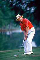 Smiling Senior man playing golf. senior man golfer. Georgia, golf course.