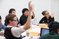 From left, Sophomore Class Senator Christopher Weeks '16 (foreground), President Nicholas McHugh '15 and Senior Class Senators Jasmine Tovar '14 and Iesha Mitchell '14.<br />