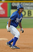 July 22, 2009: Catcher Miguel Moctezuma (18) of the Burlington Royals, rookie Appalachian League affiliate of the Kansas City Royals, in a game at Burlington Athletic Stadium in Burlington, N.C. Photo by: Tom Priddy/Four Seam Images