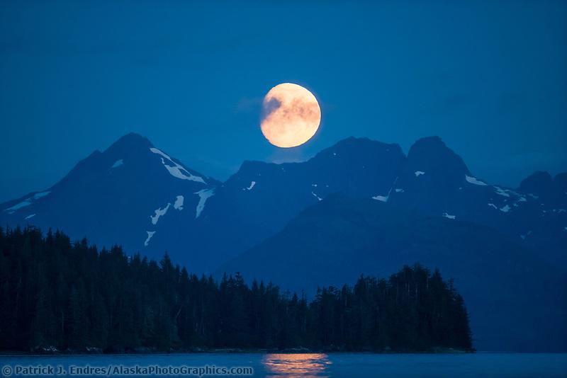 Moonrise over the Kenai Mountains, Prince William Sound, Alaska.