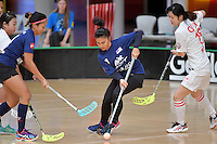 Malaysia's Michaela Khoo Lee Ann in action during the World Floorball Championships 2017 Qualification for Asia Oceania Region - Malaysia v China at ASB Sports Centre , Wellington, New Zealand on Sunday 5 February 2017.<br /> Photo by Masanori Udagawa<br /> www.photowellington.photoshelter.com.