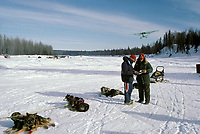 Joe Delia Checker Logs In Gordon Brinker '87 Iditarod Skwenta Checkpoint