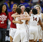 SIOUX FALLS, SD: MARCH 6: Sydney Hall #42 of IUPUI celebrates with her teammates after defeating South Dakota State during the Summit League Basketball Championship on March 6, 2017 at the Denny Sanford Premier Center in Sioux Falls, SD. (Photo by Dick Carlson/Inertia)