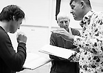 """King Lear"" rehearsed reading rehearsals. Old Vic Theatre. Director: Jonathan Miller. L to R: Tam Williams, Jonathan Miller, Christopher Brand."