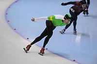 SCHAATSEN: HEERENVEEN: Thialf, 4th Masters International Speed Skating Sprint Games, 25-02-2012, Thor Andre Dowerdock (M40) 3rd, ©foto: Martin de Jong