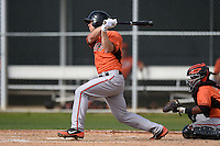 Infielder Michael Mosby (31) of the Baltimore Orioles organization during a minor league spring training camp day game on March 23, 2014 at Buck O'Neil Complex in Sarasota, Florida.  (Mike Janes/Four Seam Images)