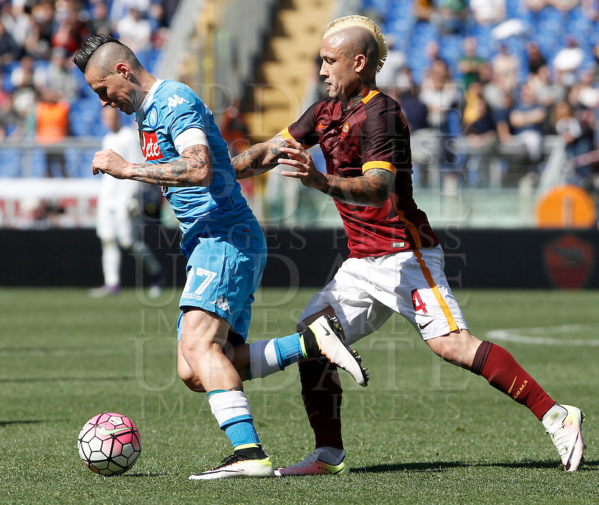 Calcio, Serie A: Roma vs Napoli. Roma, stadio Olimpico, 25 aprile 2016.<br /> during the Italian Serie A football match between Roma and Napoli at Rome's Olympic stadium, 25 April 2016. <br /> UPDATE IMAGES PRESS/Isabella Bonotto