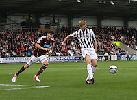 Marc McAusland clears in the St Mirren v Heart of Midlothian Clydesdale Bank Scottish Premier League match played at St Mirren Park, Paisley on 15.9.12.