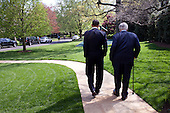 President Barack Obama and Sen. Ted Kennedy walk down the South Lawn sidewalk at the White House April 21, 2009.  (Official White House Photo by Pete Souza)..This official White House photograph is being made available only for publication by news organizations and/or for personal use printing by the subject(s) of the photograph. The photograph may not be manipulated in any way and may not be used in commercial or political materials, advertisements, emails, products, promotions that in any way suggests approval or endorsement of the President, the First Family, or the White House. .