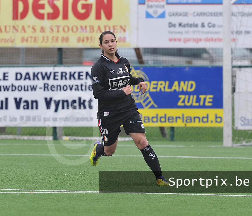 Dames Zulte - Waregem - Standard Femina de Liege : vreugde bij Lola Wajnblum na haar doelpunt.foto DAVID CATRY / Vrouwenteam.be