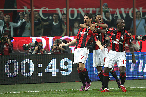 02 04 2011 AC Milan versus Inter Milan.     Pato , Robinho and Clarence Seedorf celebrate their first goal.