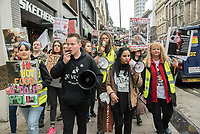 Animal rights activists gather at Convent Garden to march to the Chinese Embassy demanding the end of the Yulin Dog Festival, London APRIL 27th 2018<br />