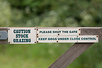 Caution Stock Grazing sign<br /> ©Tim Scrivener Photographer 07850 303986<br />      ....Covering Agriculture In The UK....