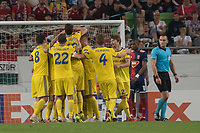 Members of team celebrate scoring a goal during the UEFA Europa League match between Hungary's Videoton FC and Belarus' FC BATE Borisov at the Groupama Arena stadium in Budapest, Hungary on Sept. 20, 2018. ATTILA VOLGYI