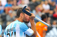 Manuel Brunet of Argentina kisses his stick after scoring his teams second goal during the Hockey World League Semi-Final match between Argentina and Malaysia at the Olympic Park, London, England on 24 June 2017. Photo by Steve McCarthy.