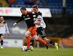 John Fleck of Sheffield Utd  in a action with Sam Foley of Port Vale during the English League One match at Vale Park Stadium, Port Vale. Picture date: April 14th 2017. Pic credit should read: Simon Bellis/Sportimage