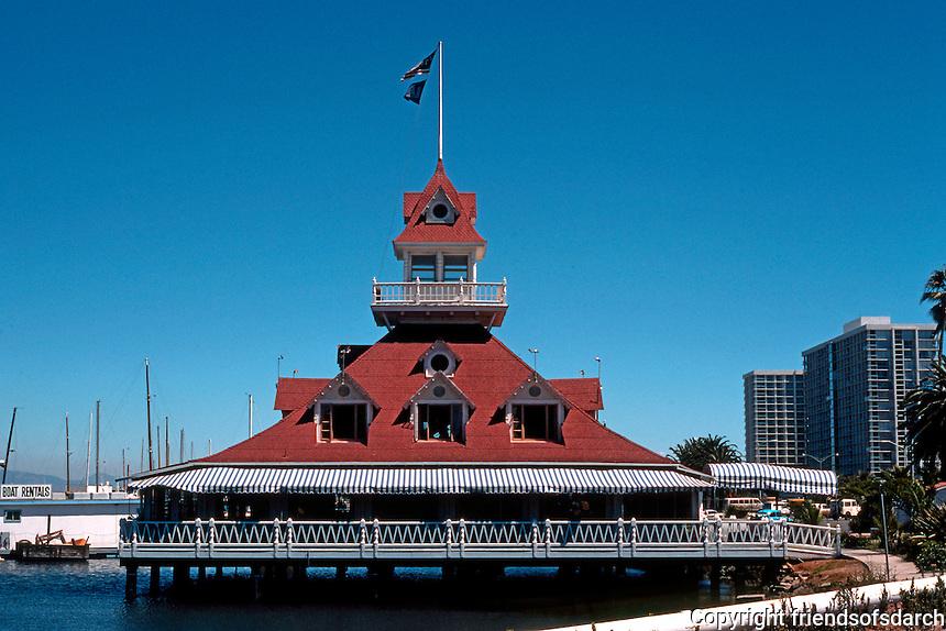 San Diego: Coronado Yacht Club Boathouse. Victorian style. Photo '78.