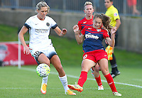 Boyds, MD - Saturday May 07, 2016: Washington Spirit midfielder Estefania Banini (10) flips the ball past Portland Thorns FC midfielder Allie Long (10) during a regular season National Women's Soccer League (NWSL) match at Maureen Hendricks Field, Maryland SoccerPlex. Washington Spirit tied the Portland Thorns 0-0.