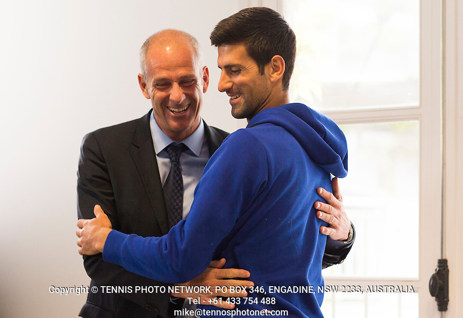 NOVAK DJOKOVIC (SRB), GUY FORGET (TOURNAMENT DIRECTOR)<br /> <br /> TENNIS - FRENCH OPEN - ROLAND GARROS - ATP - WTA - ITF - GRAND SLAM - CHAMPIONSHIPS - PARIS - FRANCE - 2016  <br /> <br /> <br /> &copy; TENNIS PHOTO NETWORK