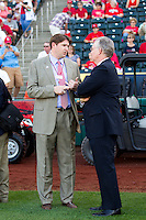 Missouri Governor Jay Nixon talks with Springfield Cardinals GM, Matt Gifford prior to a game between the St. Louis Cardinals and the Springfield Cardinals at Hammons Field on April 2, 2012 in Springfield, Missouri. (David Welker/Four Seam Images).
