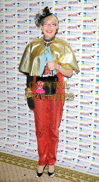 SU POLLARD .Attending Lionel Blair's 60th Year In Showbiz party, The Dorchester hotel, Park Lane, London, England, UK, .May 31st 2009..full length gold cape red trousers costume sequined shiny glasses hat shoes one glove bracelets watch fashion disaster catsuit .CAP/CAN.©Can Nguyen/Capital Pictures